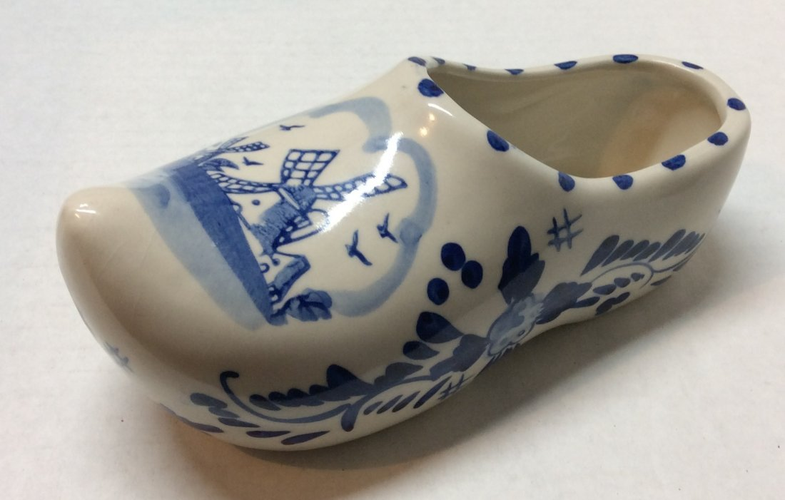 White and Blue Porcelain Holland Shoe