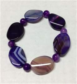 Multicolor and Purple Cat Eye Stretch Bracelet