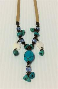 """18"""" Blue Turquoise and Leather Necklace"""