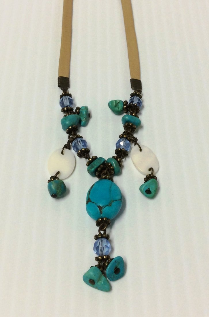 "18"" Blue Turquoise and Leather Necklace"