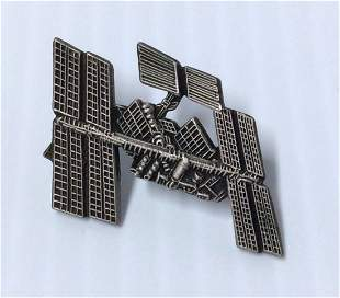 Silver Tone Space Station Pin