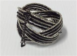 Black & White Beads Cuff Bracelet
