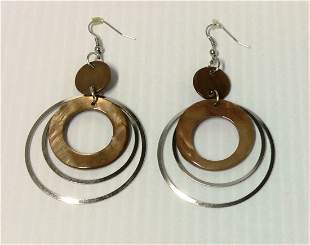 Silver Tone & Amber Bead Round Earrings