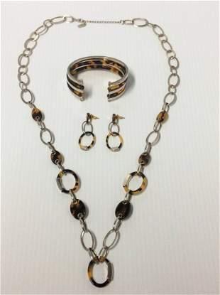 "Liz & Co Tiger Print 35"" Necklace, Cuff Bracelet &"
