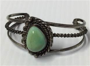 Silver Tone & Green Gemstone Cuff Bracelet