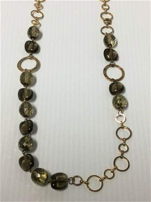"""Joan Rivers 43"""" Green Beads Gold Tone Necklace"""