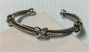 Silver Tone & Rhinestones Cuff Bracelet