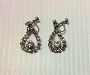 Silver Tone & Rhinestones Earrings
