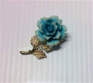 Gold Tone Blue Rose Pin