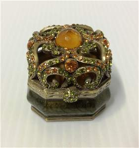 Oriental Treasures Green Enamel & Rhinestones Keepsake