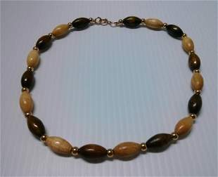 """18"""" Gold Tone & Wood Beads Necklace"""