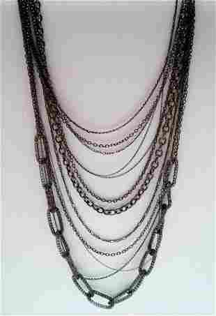 "34"" 13 Strands Black Tone Necklace"