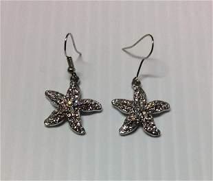 Silver Tone & Rhinestones Star Fish Earrings