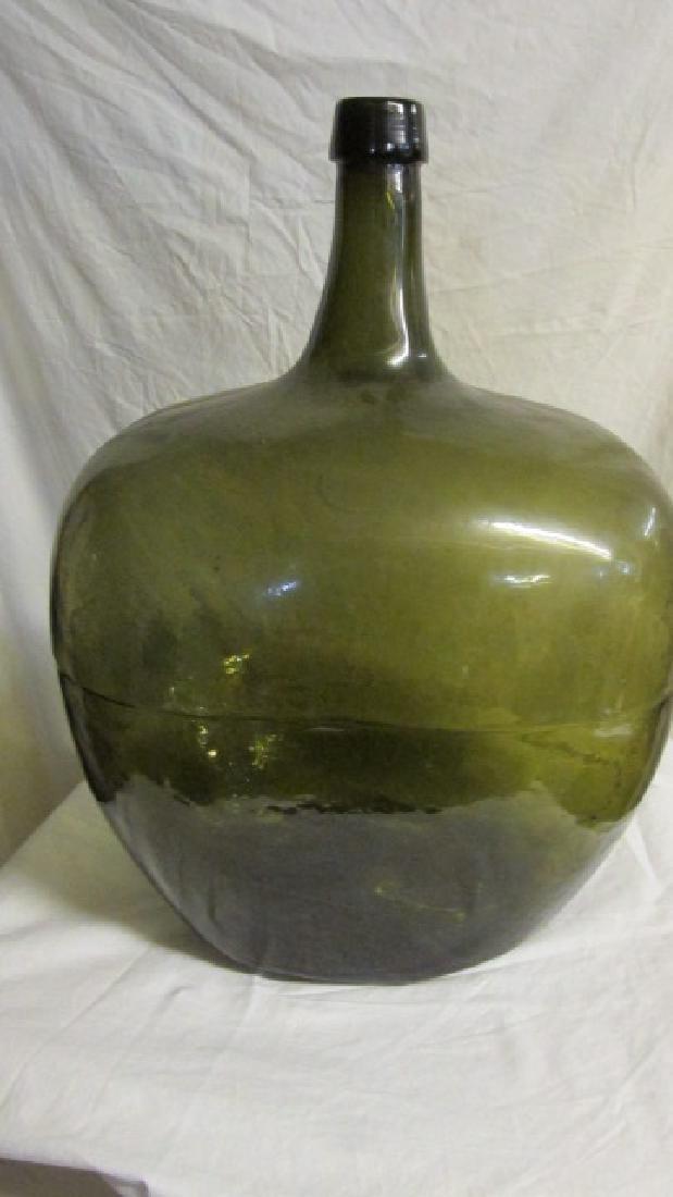 Green Glass Olive Oil Bottle