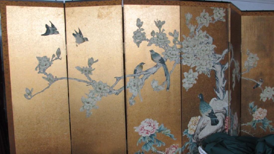 6 Panel Oriental Screen w/Birds in Trees