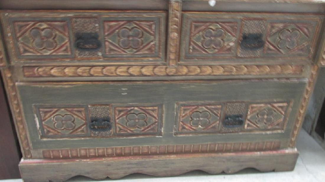 European Painted Chest Server 4 Large Drawers