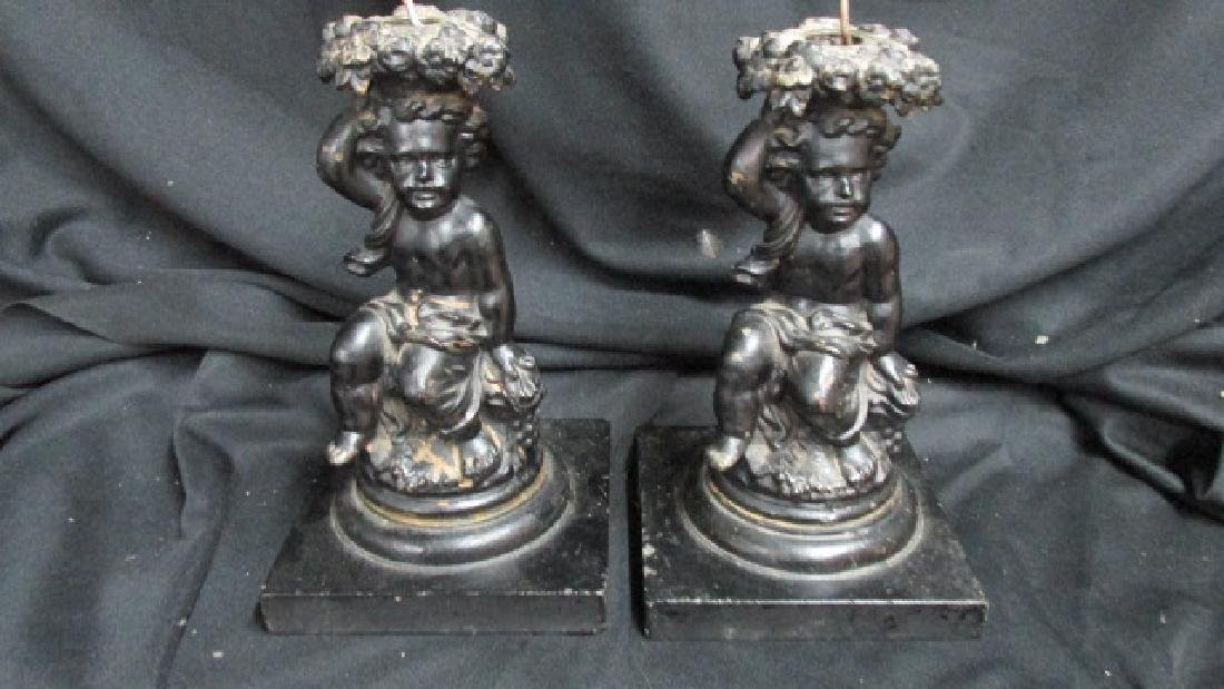 Cherub Andiron/Candle Holder Figures