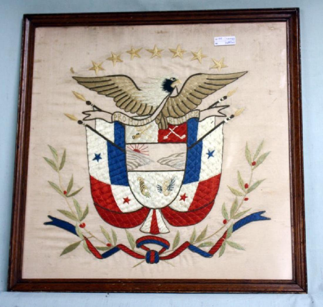 1920s Panama Coat of Arms Silk Embroidery