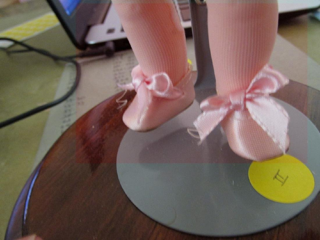 "Ballerina  - outfit is pink -  8"" - Wooden stand with - 3"