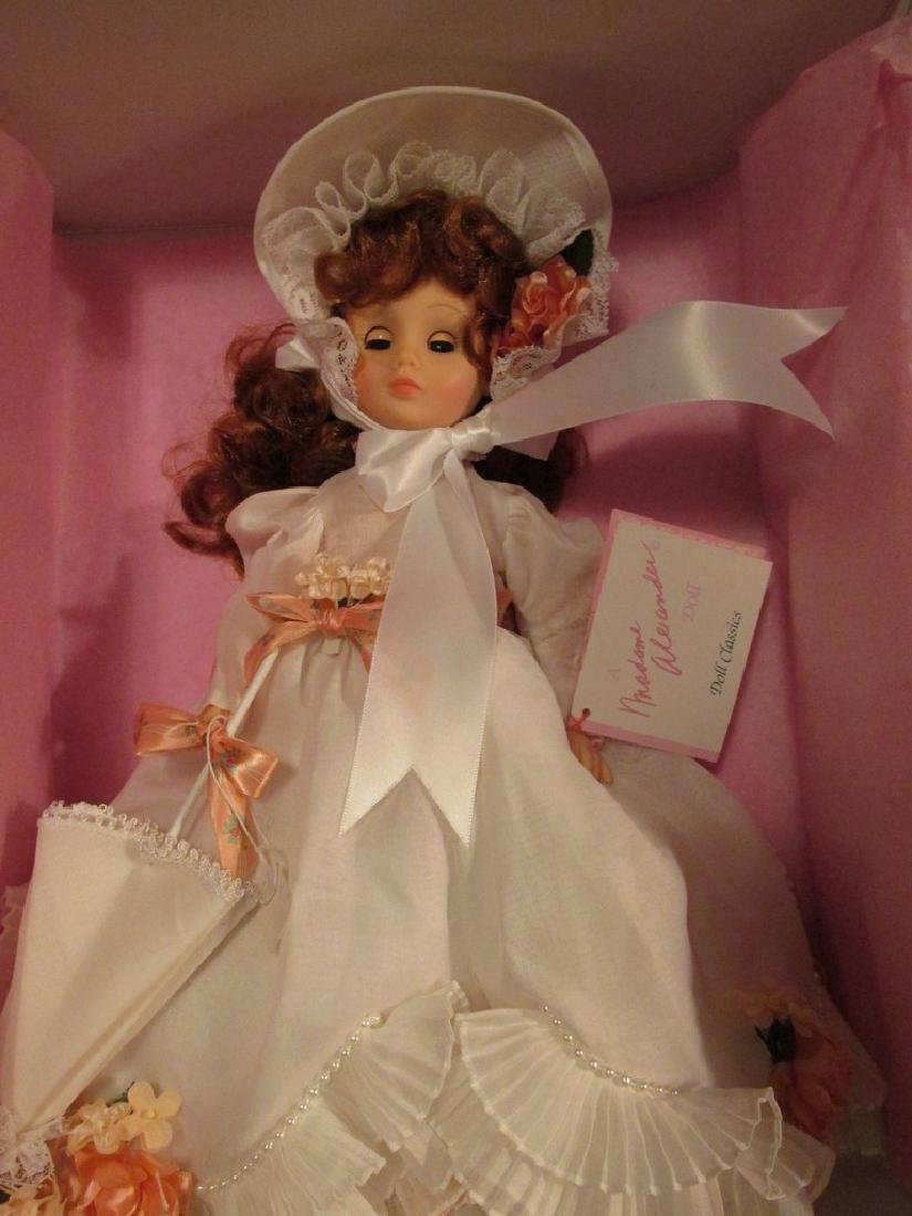 Easter Bonnet  -  dressed in white dress with parasol,