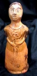 Moravian Pottery Figure of Lady w/Flower