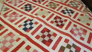 Red & White Block Cotton 1920s Tenn Quilt