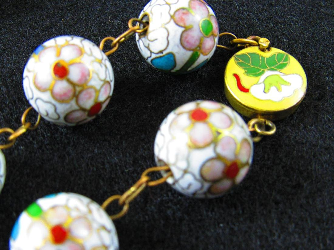 White cloisonne bead necklace