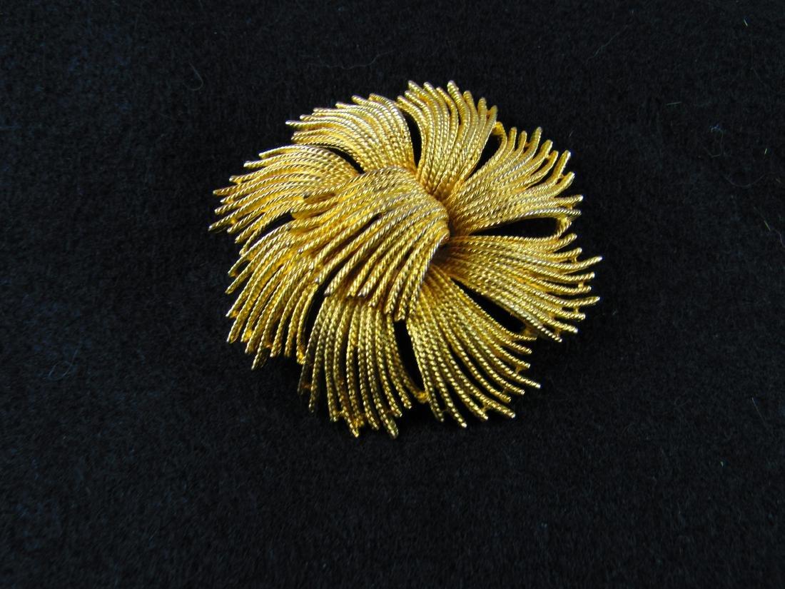 Large Monet gold spray brooch