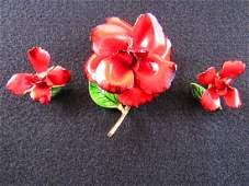 Judy Lee red flower demi parure