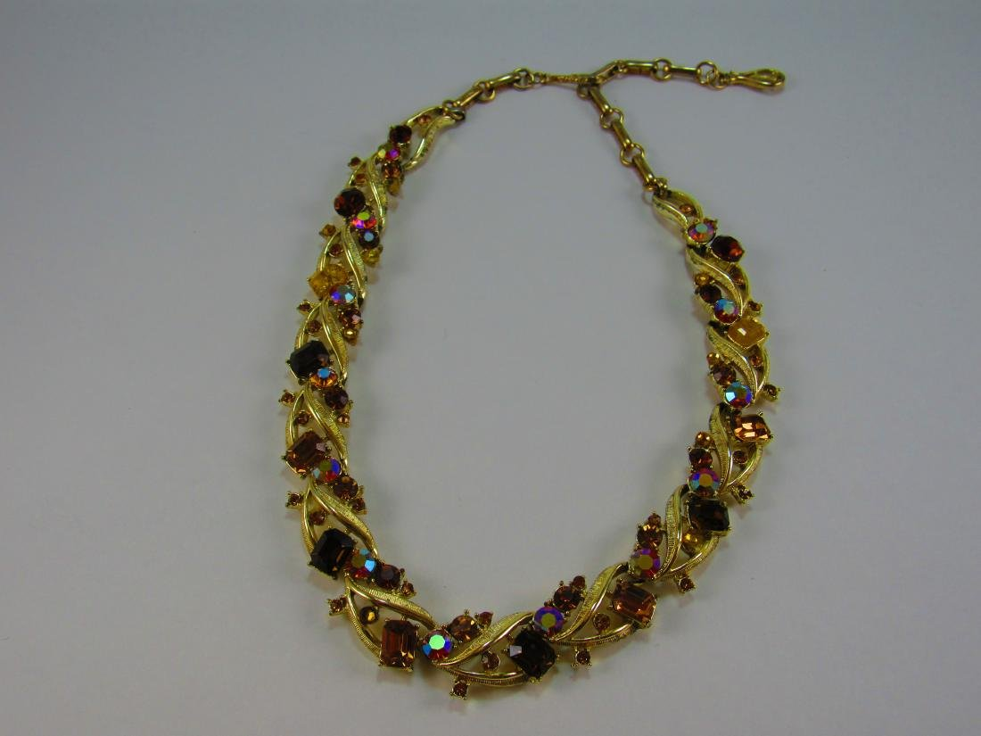 Coro goldtone and crystal necklace