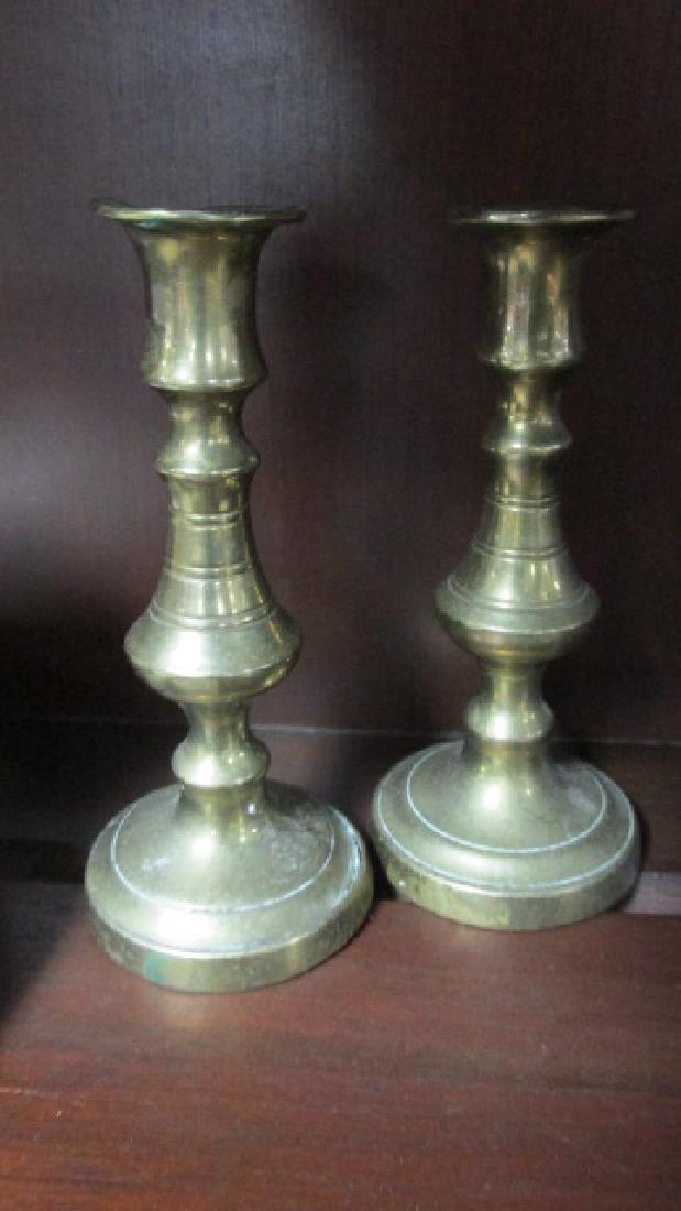 Miniature 1850s Brass Candlesticks Pr.