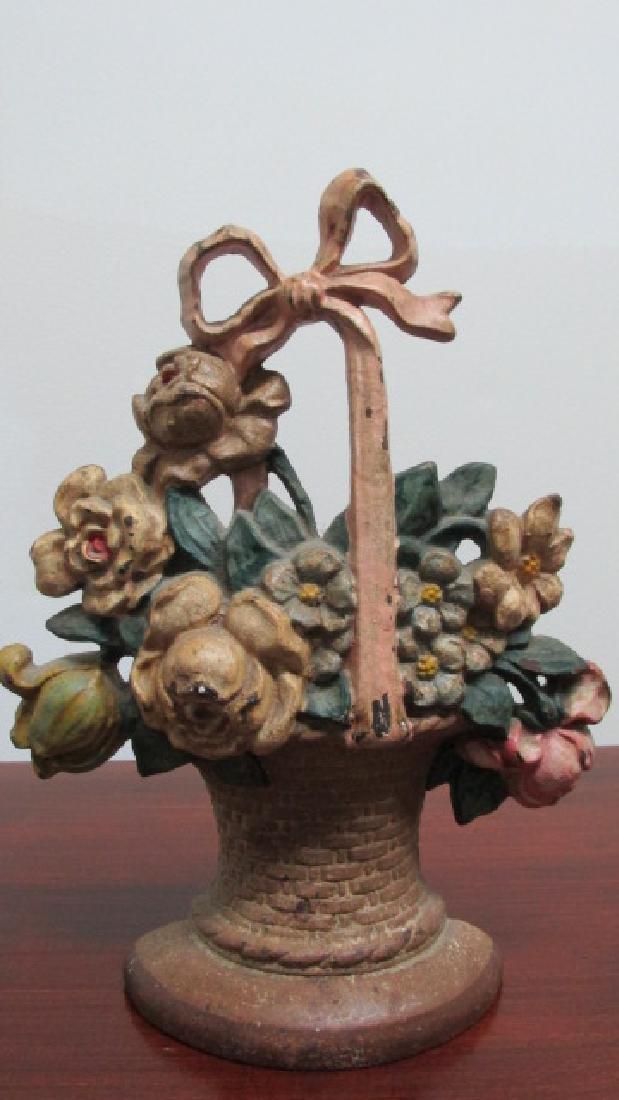 Floral Basket Cast Iron Door Stop