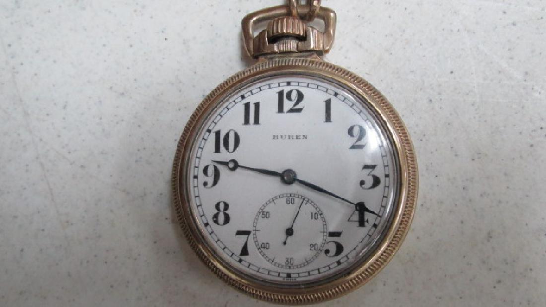Buren Open Face Pocket Watch