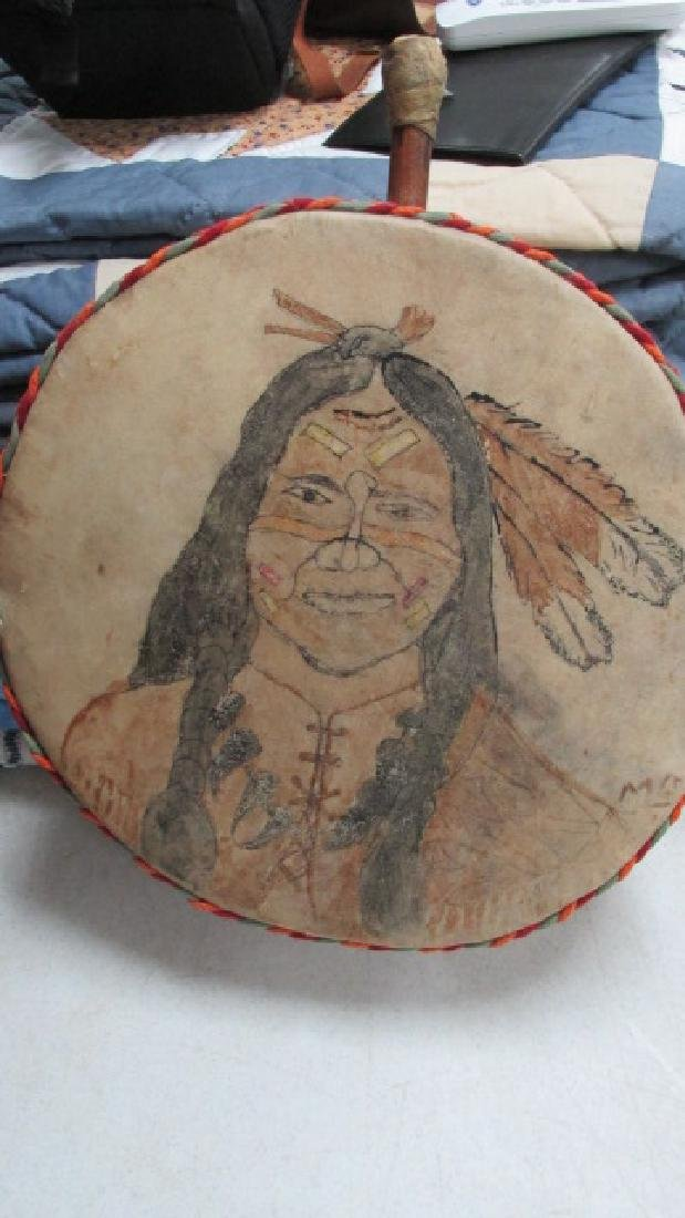Childs Toy Drum w/Indian Painting