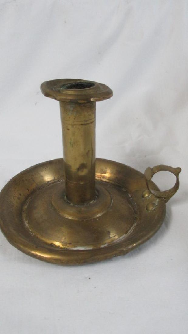 Brass Hog Scraper Candlestick