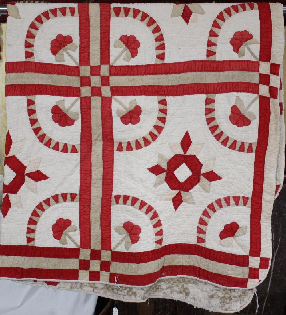 Red & Tan 1890s Floral East Tn Quilt