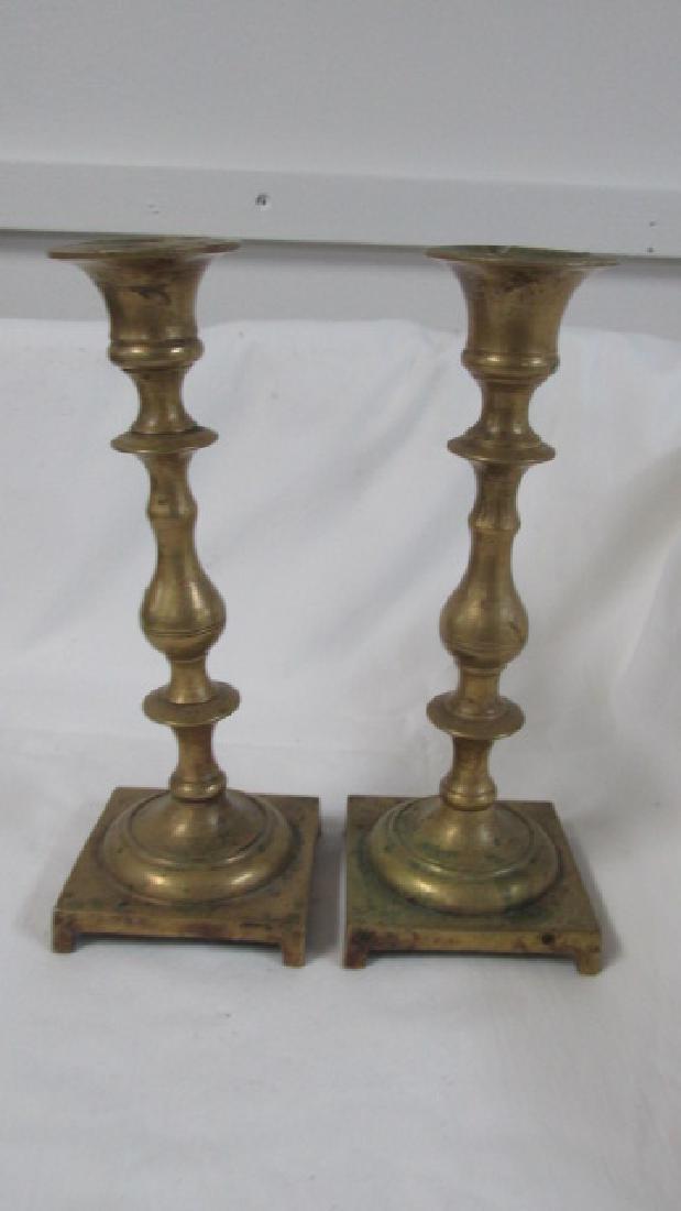 Square Based Brass Candle Sticks Pr.