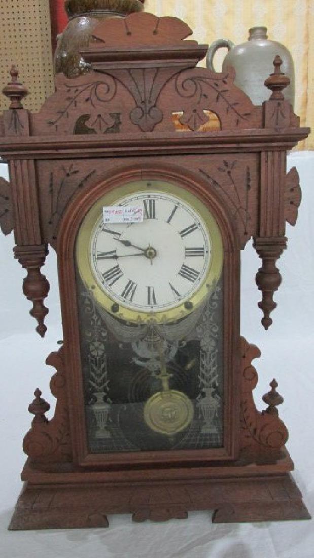 Fancy Walnut Kitchen Clock Ca. 1890