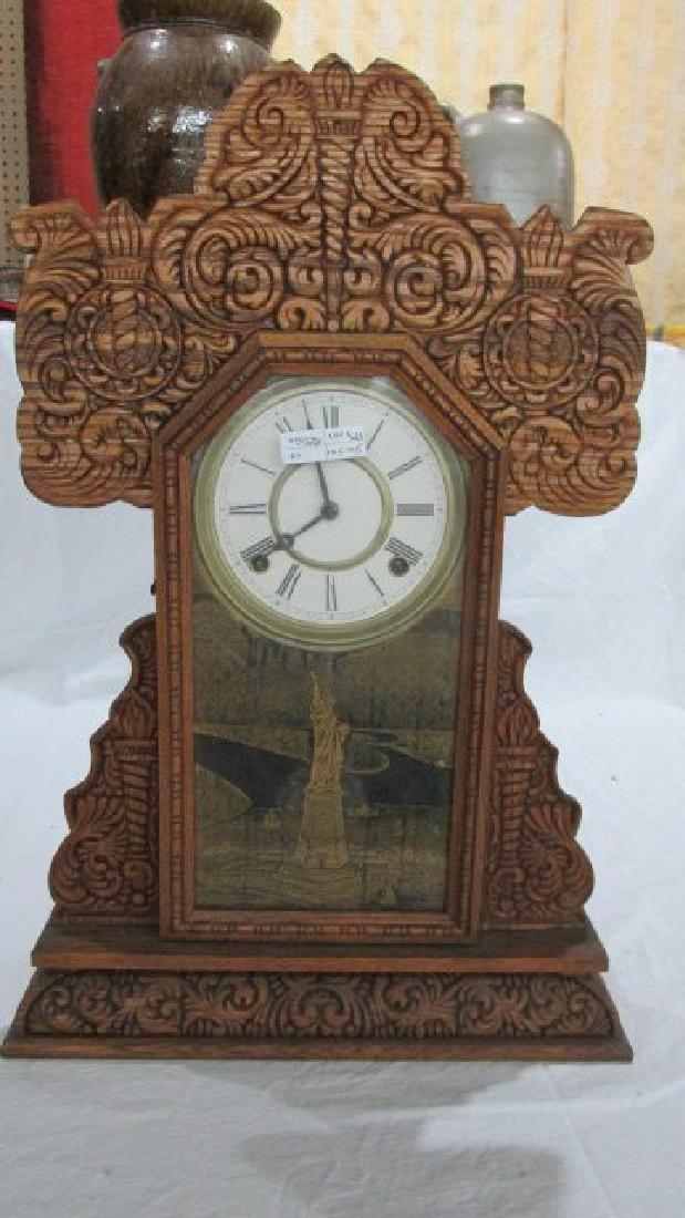 Ingraham Oak Kitchen Clock