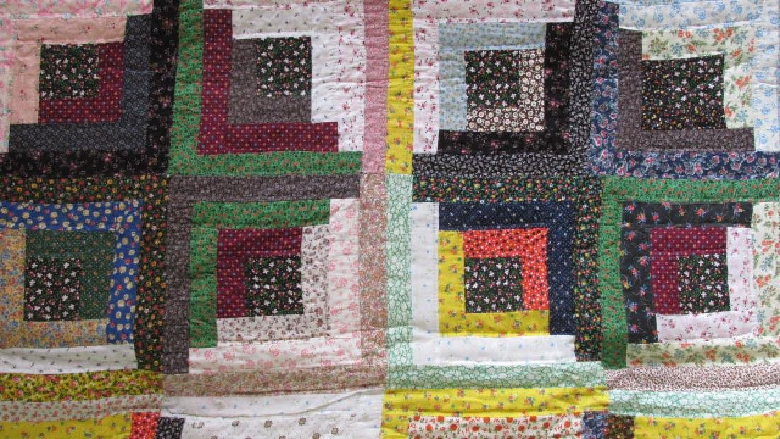 Log Cabin Cotton East Tenn. 1950s Quilt