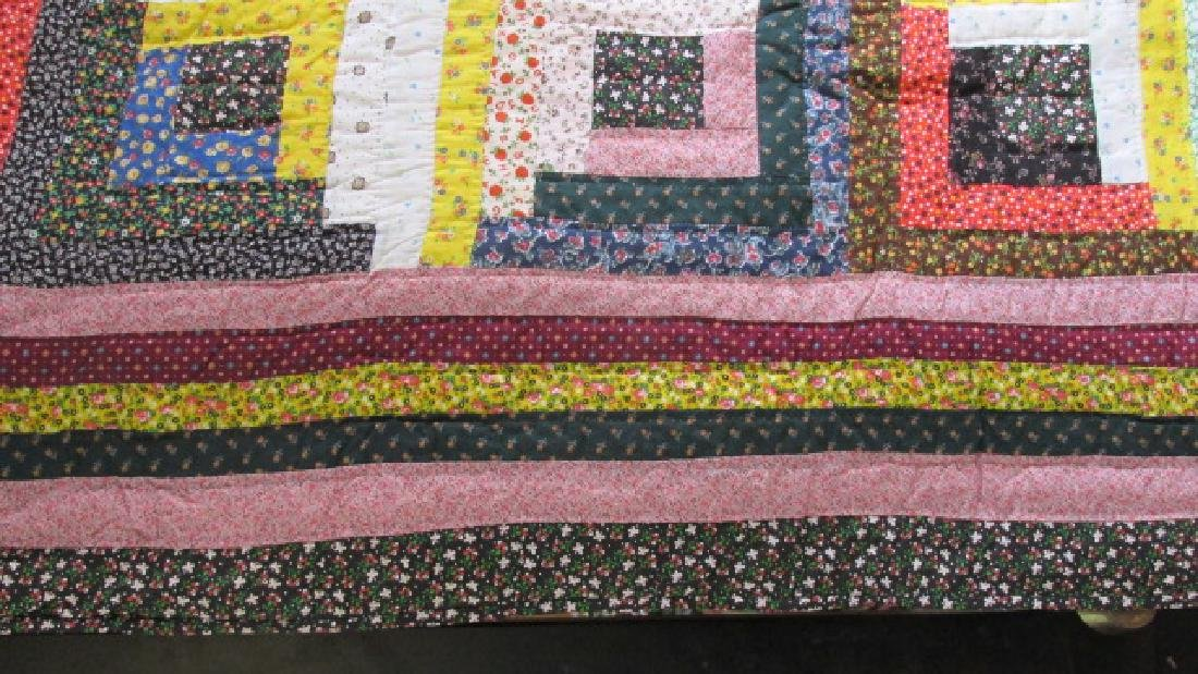 Log Cabin Cotton East Tenn. 1950s Quilt - 5