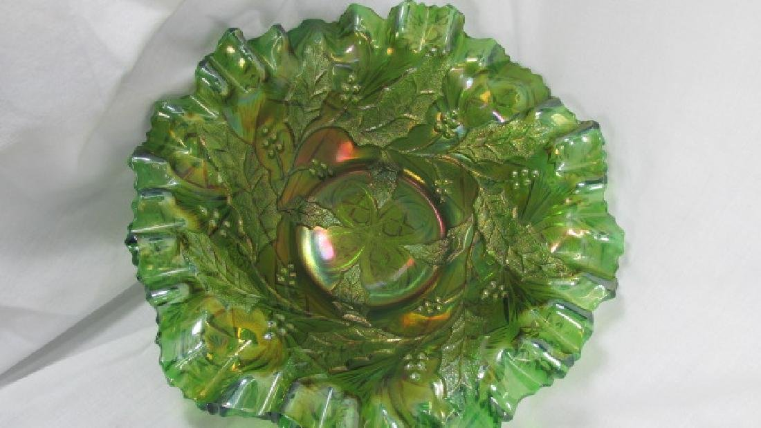 Green Holly & Berries Carnival Glass Bowl
