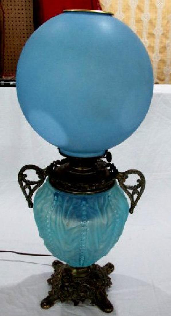 Blue Satin Glass Gone With the Wind Lamp