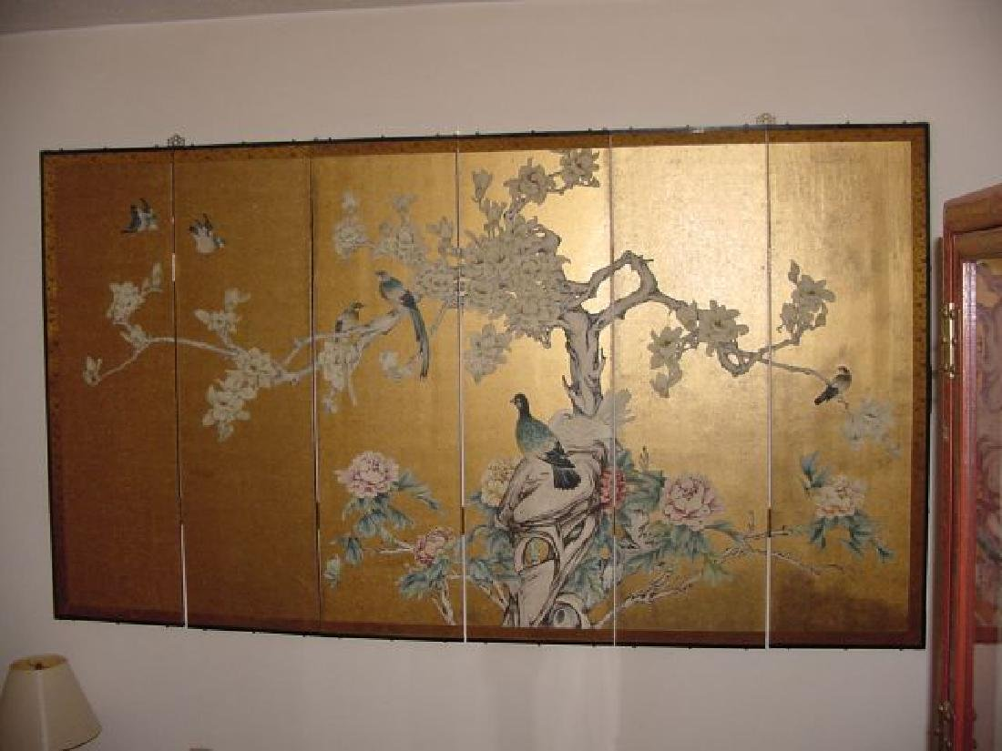 6 Panel Oriental Screen w/Birds in Trees