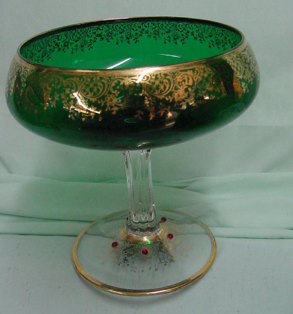 Green Murano Glass Compote