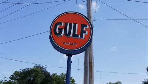 Round Large Gulf Gas Station Sign