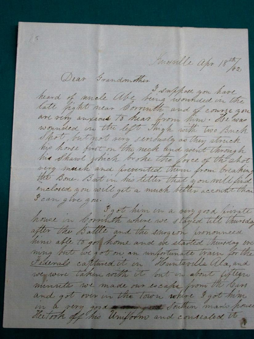 1862 Southern Soldier Letter Concerning Wounds In