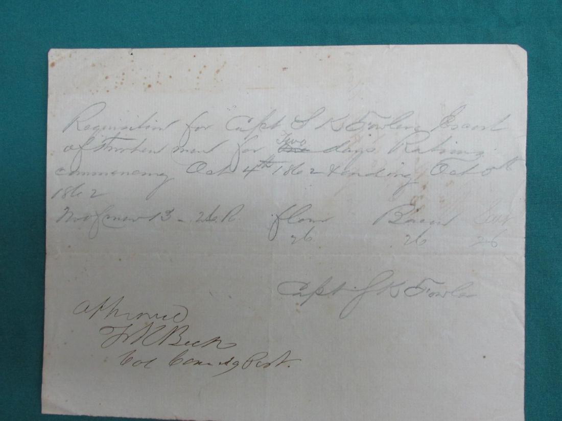 Capt. J. K. Fowler 1862 Dakota Territory Rations Col.