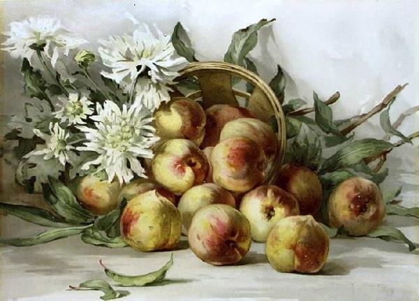 1007: Summer Peaches, Louis Prang Textured Print
