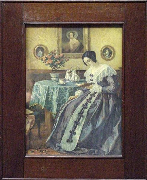 1008: Colonial Lady Reading Print